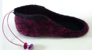 felted slipper before upper toe attached