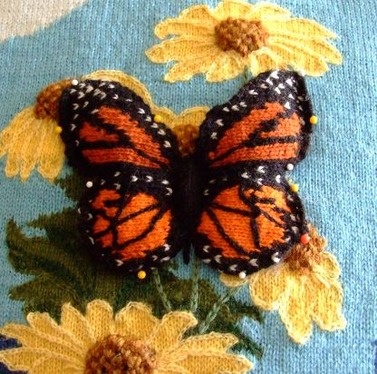 Knitting Patterns Intarsia Free : Knitted Intarsia 3-D Butterfly Creative Knitting ...