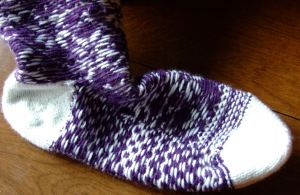 inside of cozy toes nordic sock
