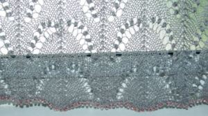 lace curtain bottom edge of center panel